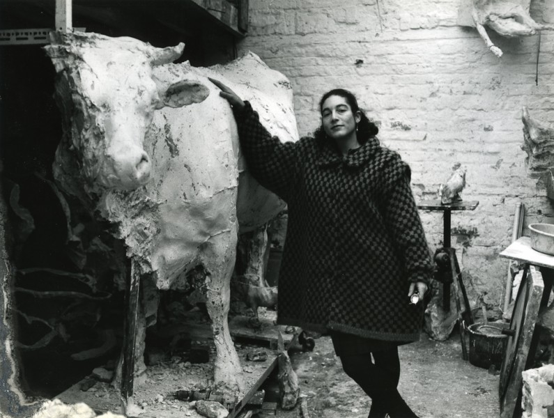 "Michele in Brian's studio with his life size ""Burano Cow"""
